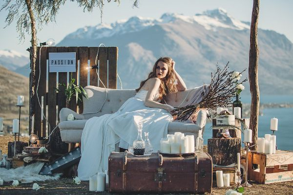 Bridal photo shoot with Remarkables Mountains, Queenstown