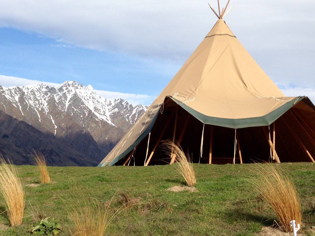 Tipi set up on Queenstown farm